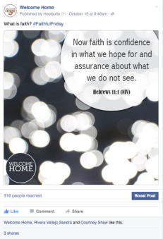 FaithfulFriday sample facebook post